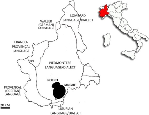 The study areas within the linguistic map of Piedmont, NW Italy