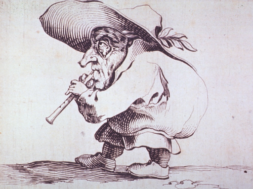 <p>A grotesque figure of a humpbacked man wearing a large hat, a mask, and playing a wind instrument.</p>