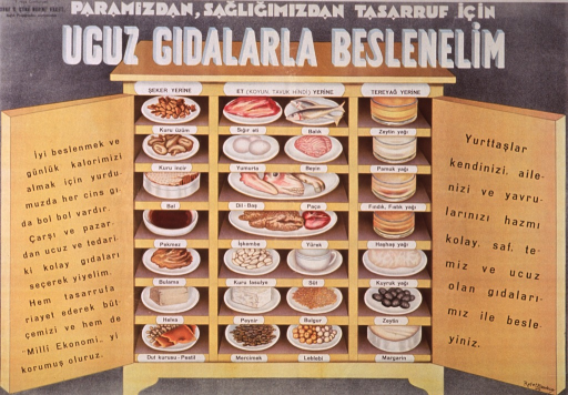 <p>Multicolor poster with black and white lettering.  Publisher information in upper left corner.  Title at top of poster addresses the concepts of money, thrift, and nourishing, inexpensive food.  Visual image is an illustration of a cabinet filled with food.  The shelves are divided into three sections, one for sugar substitutes, one for meat substitutes, and the third for butter substitutes.  The sugar substitutes include dried fruits, molasses, honey, etc.; the meat substitutes include fish, eggs, organ meats, cheese, and various legumes; the butter substitutes include a variety of oils, olives, and margarine.</p>