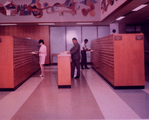 <p>Interior view: Two-sided card catalogs.  On one side of the card catalog is for old subject entries for books cataloged before 1960 and on the other side is for new subject entries for books cataloged after 1959.</p>