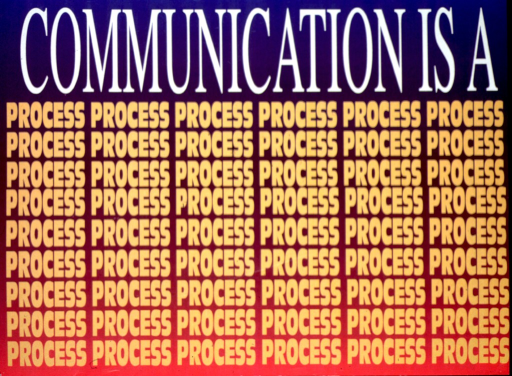 <p>Multicolor poster with white and yellow lettering.  Initial title words at top of poster.  The word &quot;process&quot; is then repeated to fill in the remainder of the poster, organized in 6 columns with 9 rows to each column.</p>