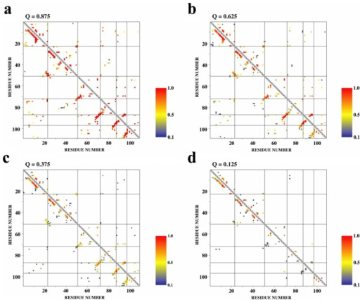 Inter-residue contact maps for each of the four unfolding bins (a: Q=0.875, b: Q=0.625, c: Q=0.375, d: Q=0.125). Average persistency of native contacts for each pair of residues is shown in color: gradation from red to yellow to blue with decreasing persistency between 1.0 and 0.1. All kinds of native contacts (bottom left triangle halves) and only native contacts between hydrophobic residues (top right triangle halves) are considered. The native module boundaries are delineated with horizontal and vertical lines. Small triangle areas on the diagonal lines correspond to intra-module regions.