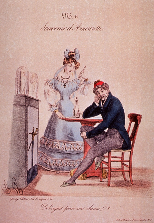 <p>A man is sitting at a table before a fireplace; his elbow rests on the table with his hand raised supporting his head.  A woman stands next to the table.</p>