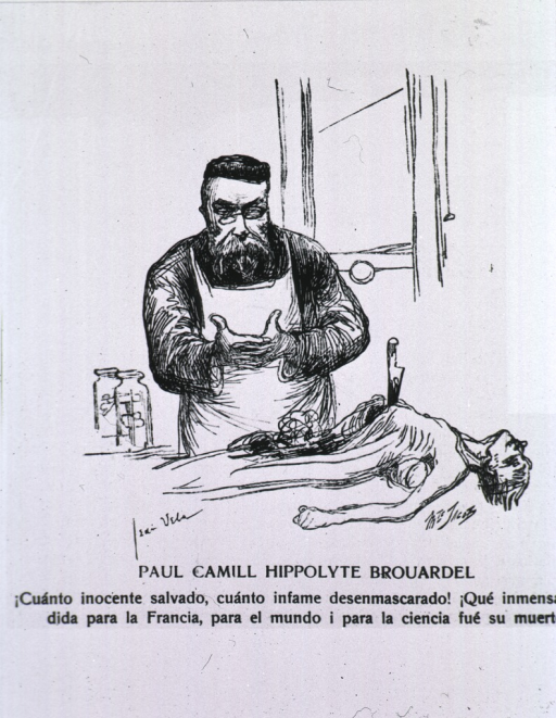 <p>Caricature from La Tribuna Medica (Chile) with French text.</p>