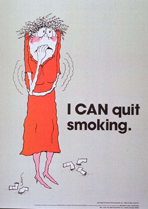 <p>Light tan poster with black lettering.  Title at right center of poster with the word &quot;can&quot; in all uppercase letters.  Visual image on left side of poster is cartoon-style illustration of a woman.  The woman has a tense expression on her face, she has one hand in her mouth as if biting her nails, she stands with arms crossed, and lines on both sides of the woman suggest that she is shaking.  Five cigarette butts are scattered around her feet.</p>