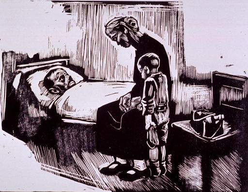 <p>A woman and a child are sitting at the hospital bedside of her sick husband.  The starkness of the image suggests that death is immiment.</p>