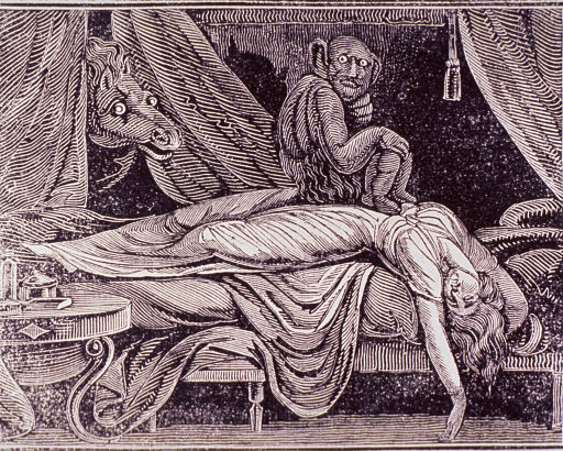 <p>Interior view: a young woman has fainted and is lying over the edge of a bed; a devil is sitting on her lap, and a horse's head is peeking through the bed curtains. The two creatures are staring at the viewer with wild eyes.</p>