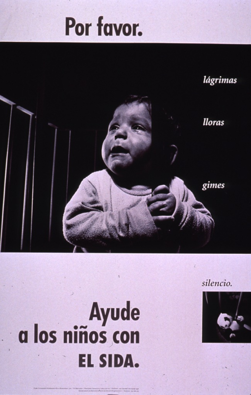 <p>Predominantly white poster with black and white lettering.  Initial title phrase at top of poster.  Dominant visual image is a b&amp;w photo reproduction featuring a crying infant in a crib.  First phrase of caption text superimposed on photo addresses tears, cries, and moans.  Smaller photo reproduction showing a stuffed toy in the crib below, accompanied by remaining caption text.  Final title phrase in lower portion of poster.  Publisher and sponsor information at bottom of poster.</p>