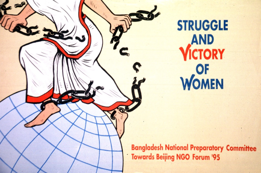 <p>Predominantly tan poster with blue and red lettering.  Title near upper right corner.  Publisher information in lower right corner.  Left side of poster features visual image, an illustration of a woman walking atop a globe.  There are broken chains around the woman's ankles.</p>