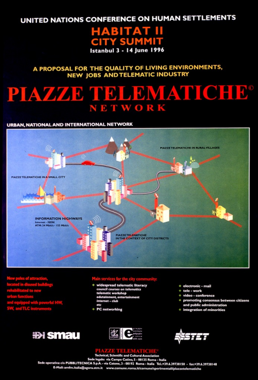 <p>Predominantly blue poster with multicolor lettering announcing an exhibit or presentation on telecommunications at a UN conference.  Conference information, note, and title at top of poster.  Visual image is an illustration depicting networks among cities and rural areas.  Text below illustration details services available and sponsors.  Publisher information at bottom of poster.</p>