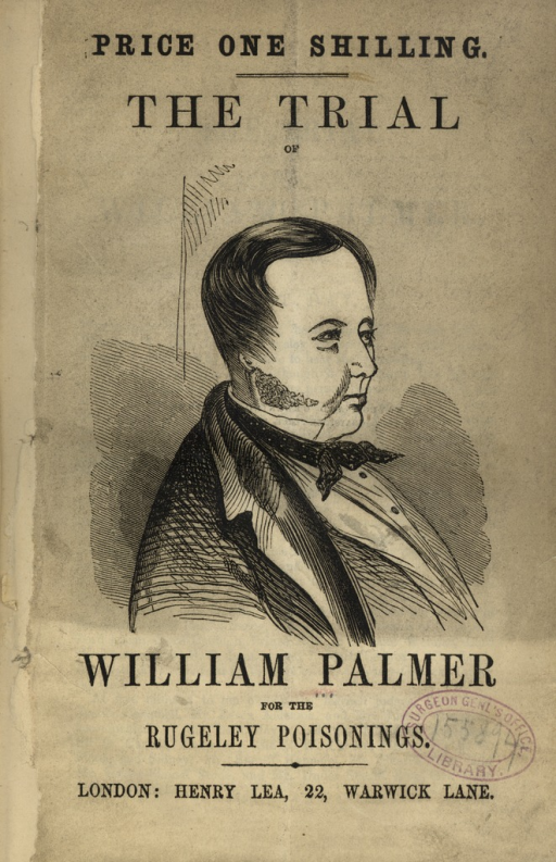 <p>Image of pamphlet title page with portrait of William Palmer.</p>