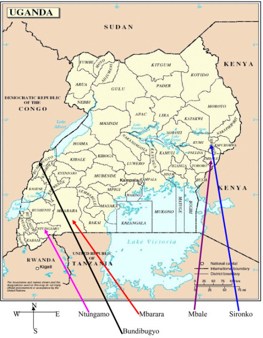 Map Of Uganda Showing Location Of Study Districts This Map Aims To Orientate The