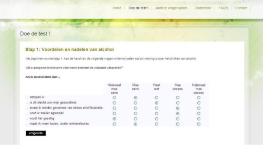Screenshot of items regarding the pros and cons of alcohol intake.