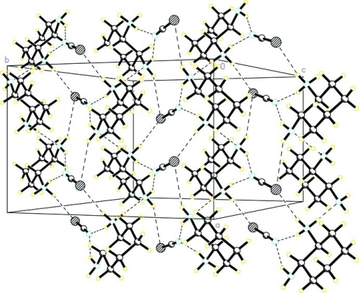 Molecular packing of (I) viewed down c axis. The dashed lines indicate intermolecular hydrogen bonds.