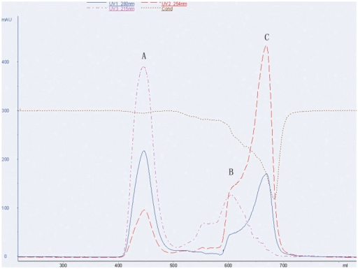 Representative chromatogram of mPEG-rCU purificationThe three different chromatograms correspond to mPEG-rCU protein (A), unconjugated mPEG (B) and N-hydroxysuccinimide acid (C), respectively.