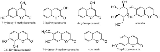 Coumarins in the 139-compound polyketide-based library.