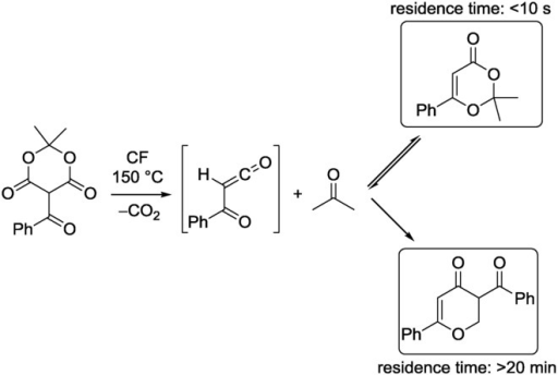 CF thermolysis of 5-benzoyl Meldrums acid leading to different products, depending on the residence time.12