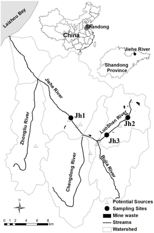 Location of the sampling points in the Jiehe (Jh) River watershed. The location of the sediment samples for this study is presented by solid circles (Zhang et al., 2014).