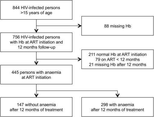 Study flow of participants in two different HIV treatment centers at Goma, in the Democratic Republic of Congo.