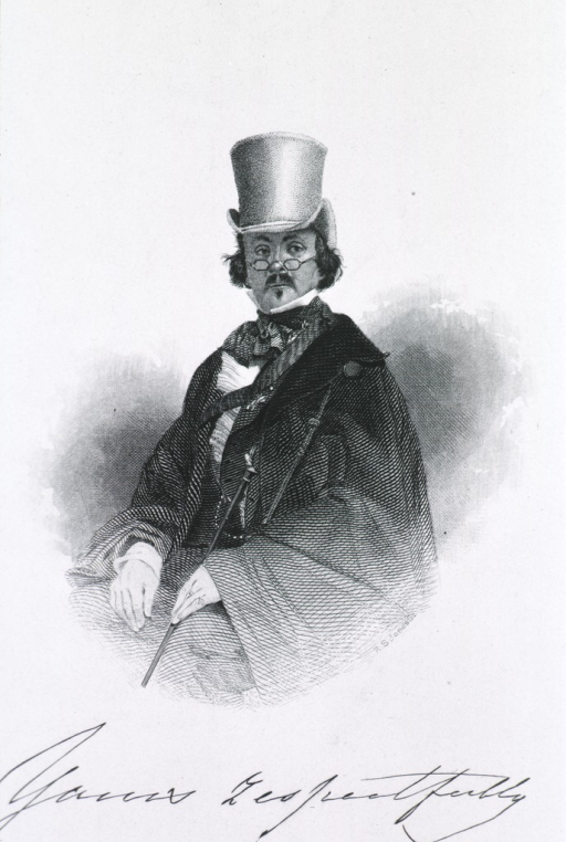 <p>Half length, figure with riding crop.  High hat; glasses on nose.</p>