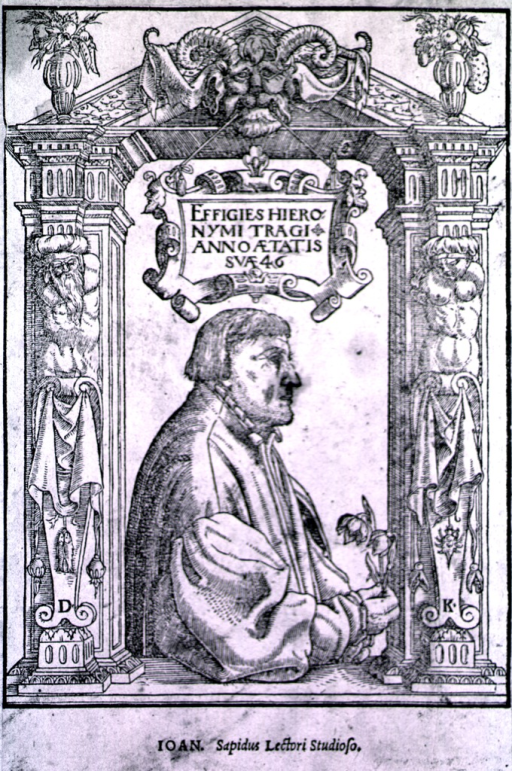 <p>Figure in window-frame, right pose, holding flower.  Decorative columns and Latin inscription:  Effigies Hieronymi Tragi anno aetatis suae 46.  With additional text below image.</p>