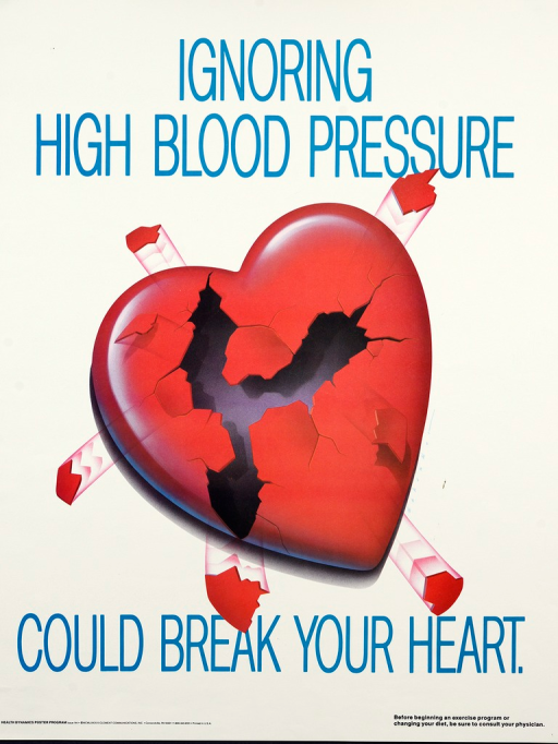 <p>White poster with bright blue lettering.  Initial title words at top of poster.  Dominant visual image is a symbolically shaped red heart with five protruding cylinders, perhaps representing veins and arteries.  The heart is broken.  A large, three-pronged segment is missing and many cracks are evident.  The protruding cylinders are also jagged.  Remaining title words and note at bottom of poster.</p>
