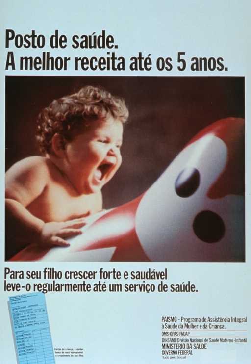 <p>White poster with black lettering.  Title at top of poster.  Dominant visual image is a reproduction of a color photo of a laughing baby, with one arm resting on a toy.  Caption below photo suggests that in order to grow strong and healthy, children need to regularly go to the health service.  Smaller illustration in lower left corner depicts a record of health visits.</p>