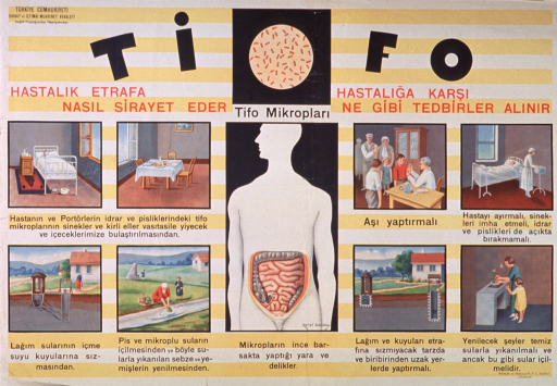 <p>Predominantly yellow and white poster with red and black lettering.  Publisher information in upper left corner.  Title at top of poster.  Visual images include illustrations of microbes, flies moving from a chamber pot to a dining table, a pit toilet placed too close to a well, and a woman and child washing vegetables in a river.  Additional illustrations depict children being vaccinated, a sick room with the window closed and chamber pot covered, a properly sealed and spaced pit toilet and well, and a woman and child cleaning vegetables in a sink.  The largest illustration is a human figure with a cutaway in the abdomen revealing the intestinal tract.</p>