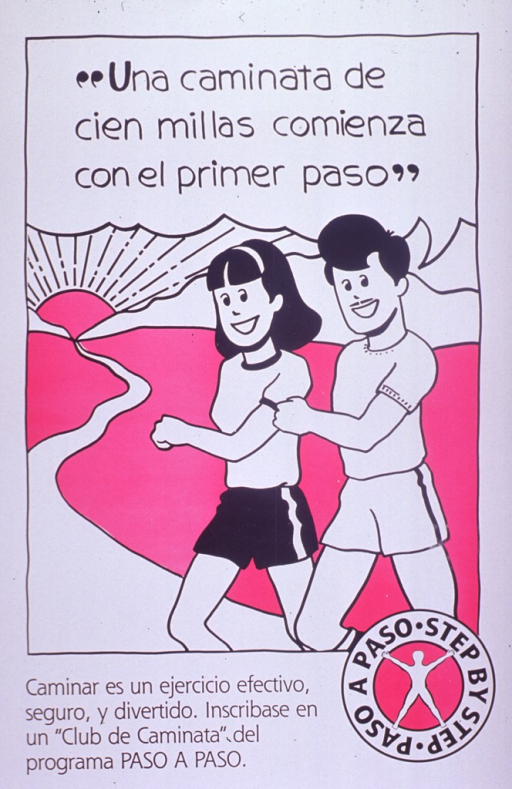 <p>White and magenta poster with black lettering.  Title at top of poster, as text spoken by a man in the illustration.  Illustration depicts a man and woman walking.  Caption below illustration promotes walking as an effective, safe, and pleasant exercise and urges joining a walking club.  Bilingual logo for &quot;Paso a Paso&quot; in lower right corner.</p>