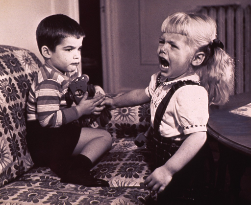 <p>Two children fighting over the same toy.</p>