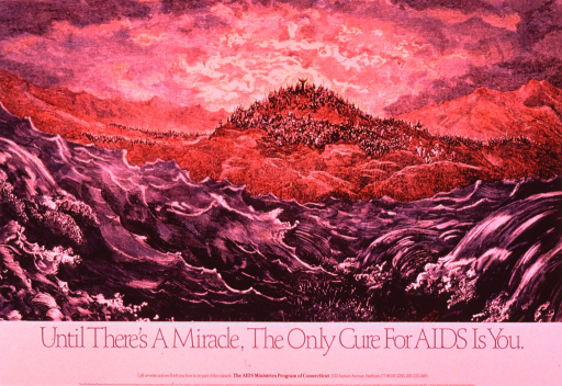 <p>Multicolor poster with blue and black lettering.  Visual image is an illustration that appears to depict part of the Biblical Exodus story.  In the background, crowds of people stand on a mountain top and nearby ridges.  One man stands above the rest with his arms outstretched.  In the foreground, waves of water rush toward each other and begin to engulf the sword-bearing people on the seabed.  Title and publisher information below image.</p>
