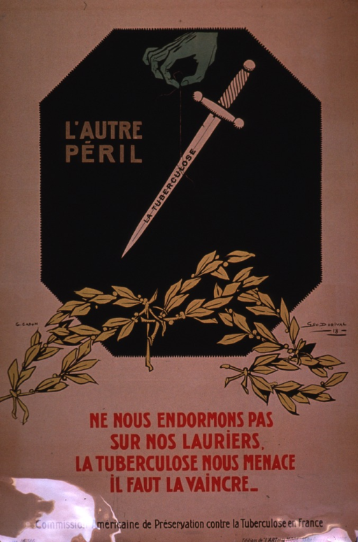 <p>Predominantly tan or discolored white poster with multicolor lettering.  Visual image is an illustration incorporating a bony green hand, a sword, and several laurel branches.  Initial title phrase appears near the hand, remaining title text on the blade of the sword.  Caption below illustration urges not resting on one's laurels as tuberculosis is a threat and must be conquered.  Publisher information at bottom of poster.</p>