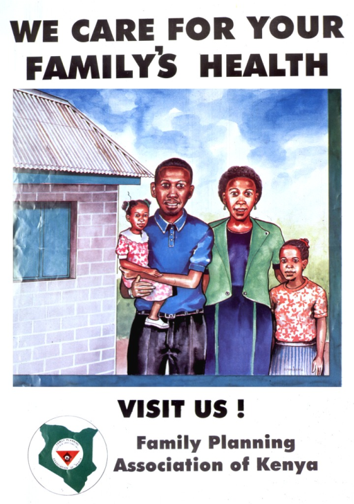 <p>White poster with black lettering.  Title at top of poster.  Visual image is a colorful illustration of a four-member family standing next to a building.  Caption below illustration.  Publisher name and logo below caption.</p>