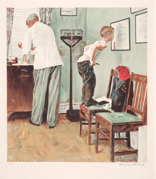 <p>A doctor's examination room with the male physician and a boy standing with their backs to each other. In the foreground, the boy stands on a chair in his undershirt. He grasps his belt and pants around his exposed buttocks and leans forward toward the wall, his nose up against one of the doctor's framed diplomas. The doctor stands behind him facing the window and holds a syringe in his hand.</p>