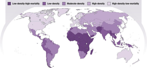 Global Variation in the Density of Health WorkersIn a report by the Joint Learning Initiative, 186 countries were designated as having low, medium, and high worker density clusters (below 2.5, between 2.5 and 5.0, and above 5.0 workers per 1,000 population, respectively), with the low- and high-density clusters further subdivided according to high and low under-five mortality [9]. Among low-density countries, 45 are in the low-density/high-mortality cluster; these are predominantly sub-Saharan countries experiencing rising death rates and weak health systems. (Illustration: Giovanni Maki, adapted from [9])