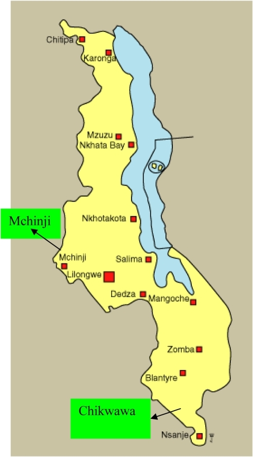 Map Of Malawi Showing Survey SitesMchinji In Central Openi - Malawi map