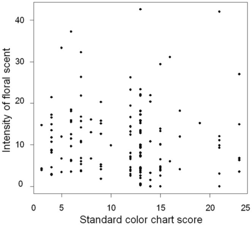 Relationship between flower color and fragrance in F2 hybrids.The horizontal axis is the standard color chart score. The vertical axis is the intensity of floral scent measured with the odor meter. A Pearson's product-moment correlation coefficient is –0.0336 (P=0.684).
