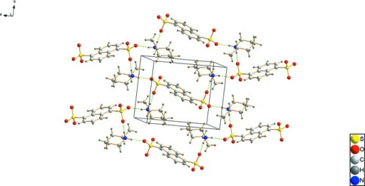 Packing diagram of the title compound, hydrogen bonds are shown as dashed lines.