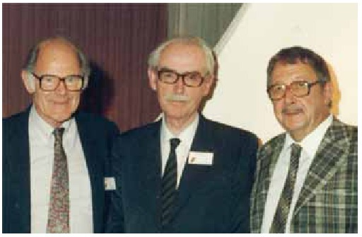 "Three famous yeast taxonomists (left to right): Herman J. Phaff, Nico van Uden, and Johannes P. van der Walt. Photograph taken in 1987 at the international symposium ""The expanding realm of yeast-like fungi"", Amersfoort, The Netherlands,"