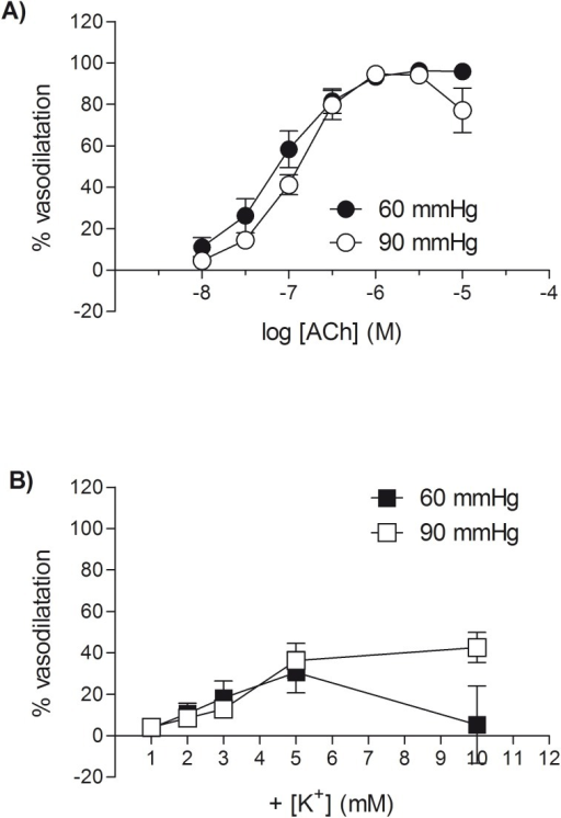 ACh produces a larger vasodilator response than raising extracellular potassium in myogenically-active mesenteric small arteries.Vasodilator responses to (A) ACh and (B) raised extracellular potassium in rat isolated mesenteric small arteries pressurised to 60 mmHg or 90 mmHg (in the presence of L-NAME and indomethacin). Following the development of stable myogenic tone, cumulative concentration response curves were constructed to ACh or potassium in random order in the same artery from n different animals. Each point represents the mean ± s.e.mean (n = 6–9).