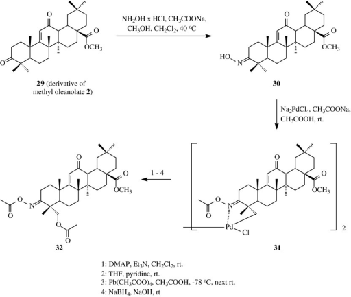 The synthesis of acylated oximes 31 and 32 derived from oleanolic acid (1)
