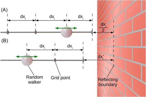 Examples of two different definitions of boundary conditions in a random walk simulation. The grid in (B) is displaced relative to the boundary.