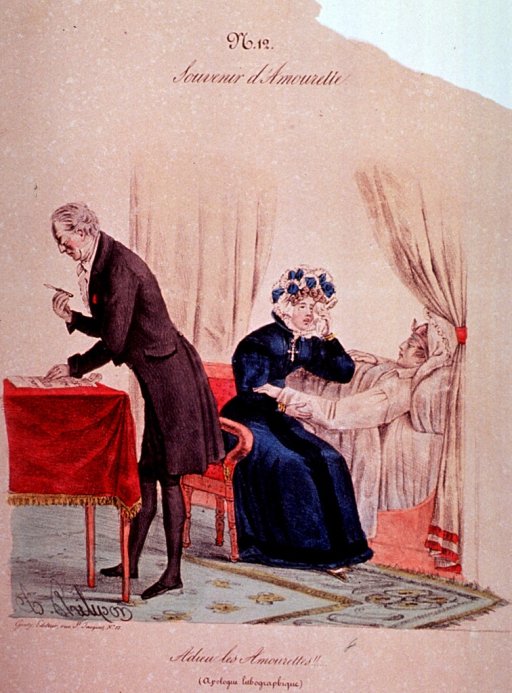 <p>A man in bed is dying; a woman is sitting next to the bed holding his hand and drying her tears.  A physician stands at a table.</p>