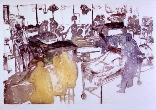 <p>Students at work on cadavers in the anatomy lab.  Skeleton specimens are also shown.</p>