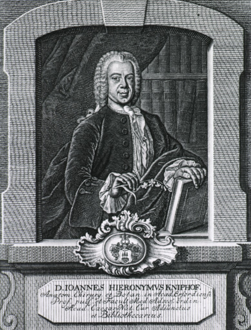<p>Half-length, standing, right pose, full face; wearing velvet coat and lace, holding book; bookshelves in background; coat-of-arms.</p>