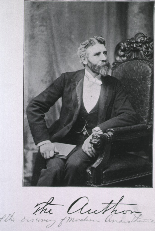 <p>Seated, three quarter length, turned towards left; caption, &quot;The Author&quot; of the discovery of modern anaesthesia.</p>
