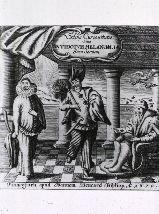 <p>Two actors cheer up a melancholy scholar.</p>