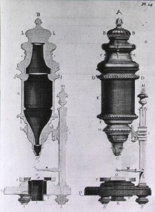 <p>Full and cross sectional views of a microscope.</p>