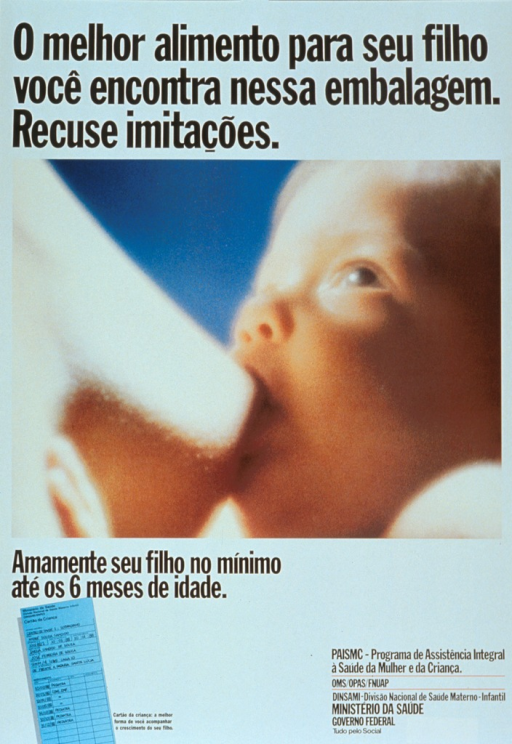 <p>White poster with black lettering.  Title at top of poster.  Dominant visual image is a reproduction of a color photo showing a baby nursing at its mother's breast.  Caption below image recommends breastfeeding children until they are at least 6 months old.  Smaller illustration in lower left corner depicts a record of child health visits.  Publisher information in lower right corner.</p>