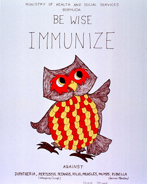 <p>White poster with black lettering.  Publisher information at top of poster.  Title below publisher information.  Visual image is a color illustration of an owl.  It appears that the original illustration was hand colored.  Note below owl.</p>